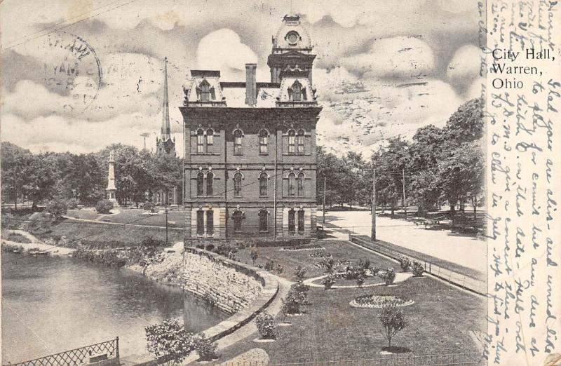 Warren Ohio 1907 Postcard City Hall Trumbull County