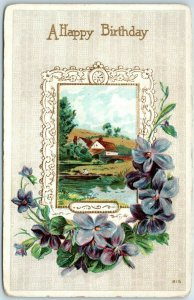 Vintage HAPPY BIRTHDAY Embossed Greetings Postcard w/ Country Scene c1910s