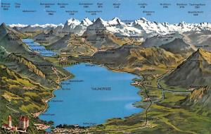 Switzerland Thun mit Berner Oberland Stadtplan Interlaken Lake Mountains