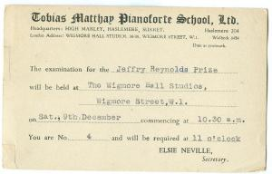 Tobias Matthew Pianoforte School 44 used invitation Postcard