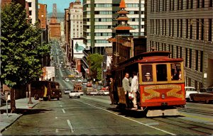 California San Francisco Cable Car Looking Down California Street