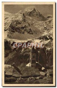 Old Postcard The Alps Meije and Old Roman Tower Terraces Village