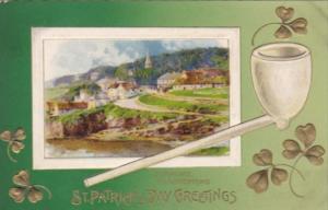 Saint Patrick's Day Erin Go Bragh With Shamrocks & Pipe