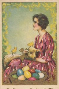 ART DECO ; Buona Pasqua (Easter) Female with Lamb & chicks, PU-1939