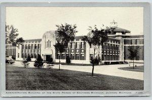 Jackson~Southern Michigan State Prison Administration Bldg~1940s Silver Border