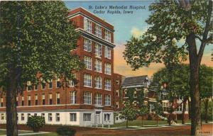 Cedar Rapids, Iowa, IA, St. Luke's Methodist Hospital, 1945 Linen Postcard c2430