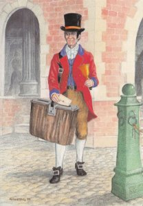 Victorian 1820 Post Office Bellman Postman Royal Mail Postcard