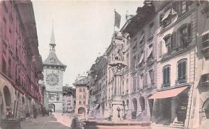 Switzerland Old Vintage Antique Post Card Bear Fountain Berne Unused