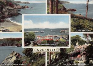Vintage Hand Coloured Postcard, Guernsey Multiview C32