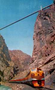 Colorado Royal Gorge Suspension Bridge and Rio Grande Western Railroad Stream...