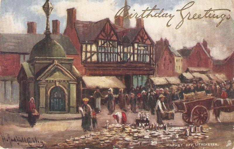 H.H.Cubley.Market Day. Uttpoxeter. Horsecart Tuck Picturesque Derbushire PC
