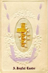 Embroidered Silk  - A Joyful Easter  (Fold-Out Card)