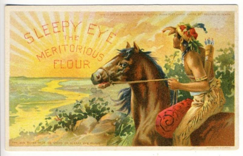 Indian Horseback Sleepy Eye MN Meritorious Flour Advertising Postcard