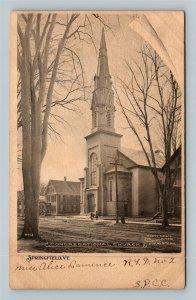 Springfield VT, Congregational Church, Steeple, Vintage Vermont Postcard
