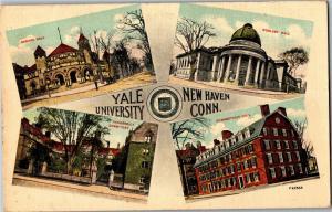 Multi View Yale University New Haven CT c1913 Vintage Postcard Q31