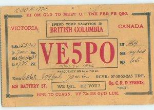 1930s QSL RADIO CARD Victoria - Vancouver Island British Columbia BC AH3281