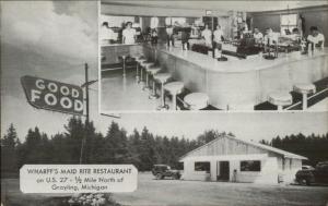 Grayling MI Wharff's Maid Rite Restaurant Route 27 Old Postcard