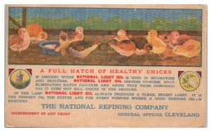 Hatch of Healthy Chicks, National Refining Co. Cleveland, OH Postcard *5E4