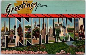 PENNSYLVANIA Large Letter Postcard Curteich Linen w/ 1952 PA Cancel