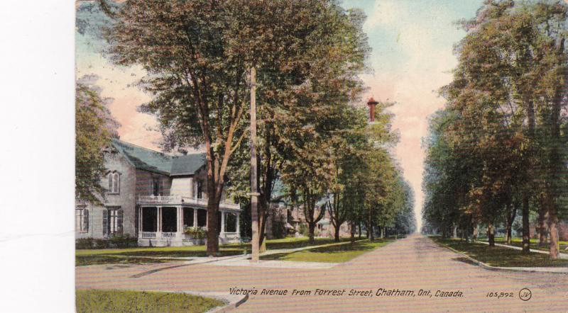 CHATHAM , Ontario , PU-1914 ; Victoria Avenue from Forrest Street