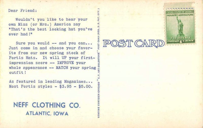 Atlantic Iowa Neff Clothing Portis Hat Advertising Vintage Postcard JJ658881