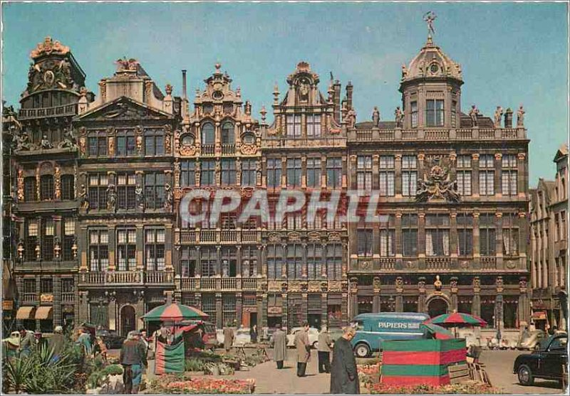 Postcard Modern Brussels main square houses of comporation