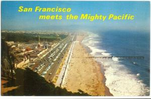 San Francisco Beach and Great Highway, 1960s used Postcard