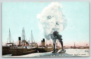 Duluth Minnesota~Twin Ice Crushers at Work in Harbor~Steamers~Freighters~1908 PC