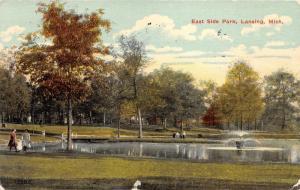 Lansing Michigan~East Side Park Scene~Fountain in Lake~Ladies & Girl~1915 Pc