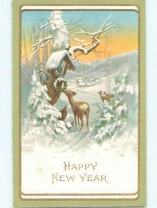 Pre-Linen new year CUTE DEER NIBBLES ON CHRISTMAS WREATH k5393