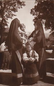 Italy Visoni Di Sardegna Desulo Le Comari Women and Children In Typical Costu...