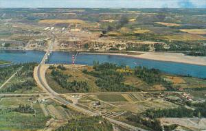 Canada Aerial View Of Peace River At Taylor British Columbia