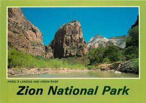 Zion National Park Postcard - Angel's Landing & Virgin River UTAH Postcard
