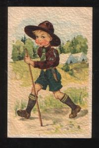 069660 Boy SCOUT in Campaign Vintage embossed PC