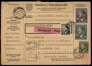 Germany Concentration Camp KL Floessenbuerg Package Card 77642