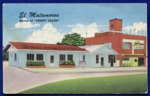 EL Matamoros home of Crispy Tacos Austin Texas tx roadside linen postcard