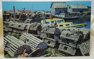 Lobster Fishing Yarmouth Nova Scotia Canada Vintage Postcard