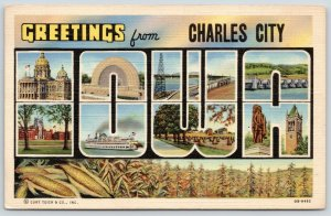 Charles City Iowa~State Large Letter Linen Postcard~Cornfield~Ear Corn~1940