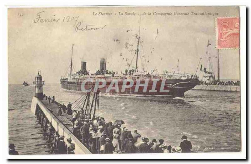 Vintage Postcard Boat the steamer Savoy of the Transatlantic general Company