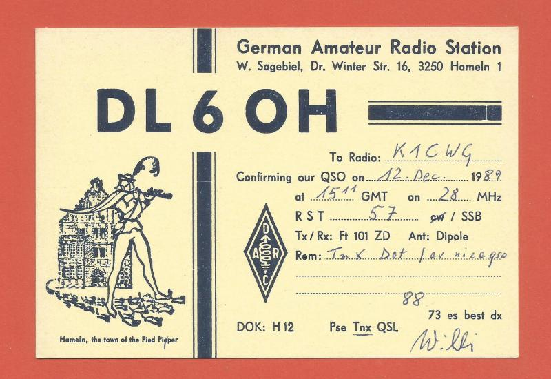 QSL AMATEUR RADIO CARD – HAMELIN, GERMANY – 1989 - PIED PIPER