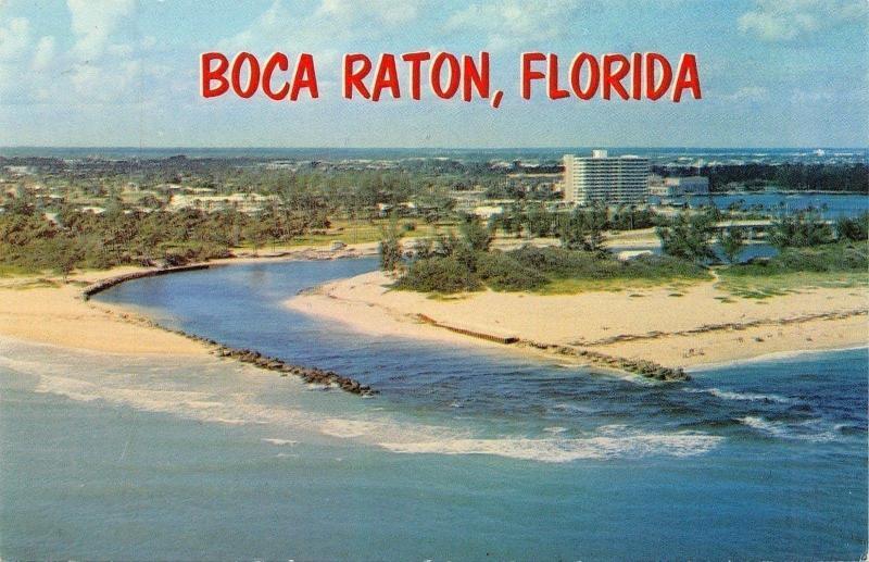 Baca Raton Florida~Aerial View Inlet~Intracoastal Waterway~1960s