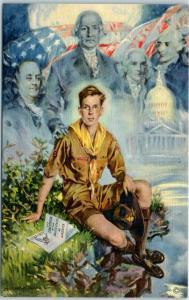 1937 BOY SCOUT JAMBOREE Postcard Artist-Signed H.C. Christy Washington DC Linen
