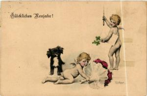 CPA Angels with a Dog, Flowers and a Letter ANGELS (777652)