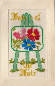 EMBROIDERED, 1900-10s; Fair of the Fair, Artist easel of flowers