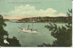 Portland Harbor, Maine, Peaks Island from Diamond Island --- Steamer