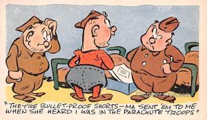 Military Comic Postcard, Old Vintage Antique Post Card Bullet Proof Shorts Un...