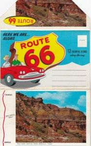 Folder Postcard, 1950-60s; 12 colorful scenes along ROUTE 66, Folder Postcard