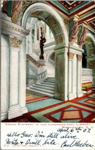 Vintage 1907 Grand Stairway in the Congressional Library Washington DC Postcard