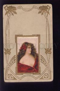 073554 Lady in Red ANGELO ASTI Art Nouveau SILK Embossed RARE