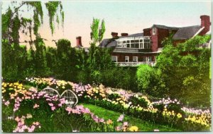 LURAY, Virginia Postcard Gardens at THE MIMSLYN HOTEL Albertype HAND-COLORED